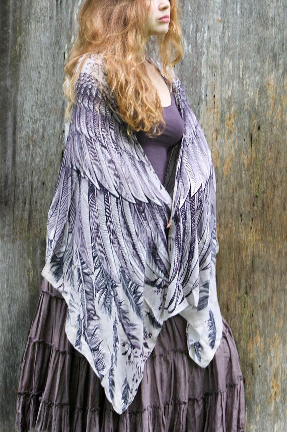 Women scarf Dusty purple Wings and feathers in by Shovava on Etsy, $56.00