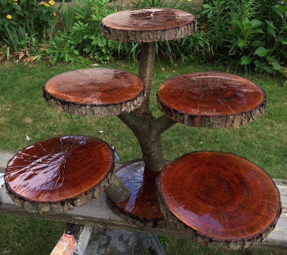 These cupcake stands are built to order. Every cupcake and cake stand that we sell is custom designed and handcrafted from fallen wood taken off of