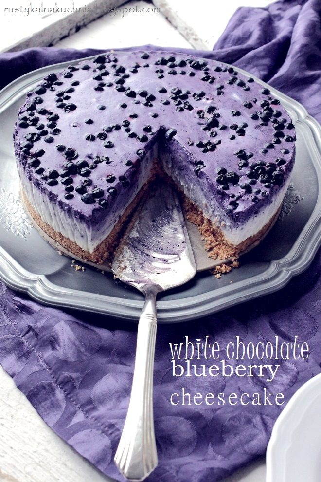White Chocolate bluebery, no bake cheese cake. One of the most delicious cheesecakes I've ever made!