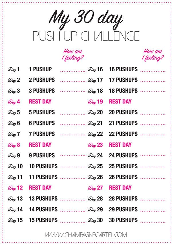30 Day Pushup Challenge For Beginners