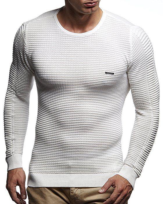 766ffdc1eac7 LEIF NELSON Herren Pullover Strickpullover Hoodie Basic Rundhals Crew Neck Sweatshirt  langarm Sweater Feinstrick LN1545