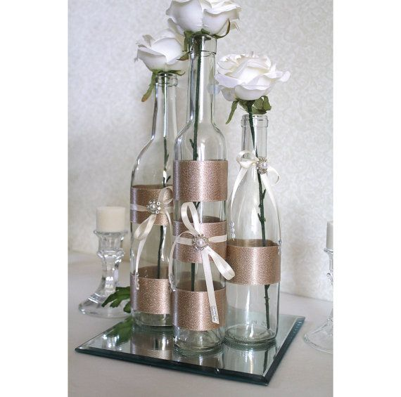 Set 3 decorated wine bottle centerpiece champagne ivory for Wedding table decorations with wine bottles