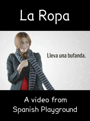 Spanish words for clothes in a bright, fun 3 minute video for kids. Free printable picture cards of the vocabulary.