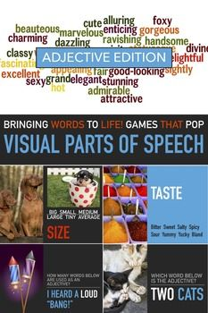 Adjectives Lesson - Visual English - Parts of Speech - Powerpoint Slides - Elementary English - ESL Grammar - Sub Plan. This is a visual powerpoint adjectives lesson for elementary students for teacher plans or sub plans that visually illustrates the use and purpose of adjectives and provides many visual examples of adjectives in sentence structure.