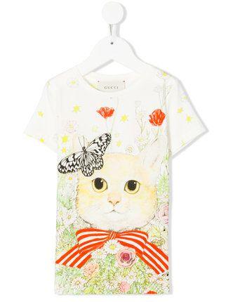 63392c2cc7e Gucci Kids floral cat print T-shirt