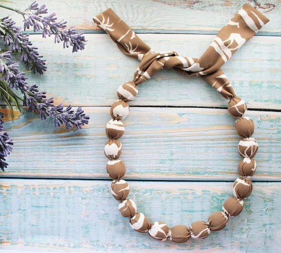 Necklace textile modern necklace Beige neutral necklace