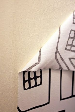Use a paste of water and cornstarch to make removable wallpaper out of fabric. | 31 Cheap And Easy Decorating Hacks That Are Borderline Genius