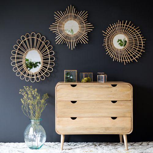 17 meilleures id es propos de meubles en rotin sur for Miroir rond en rotin