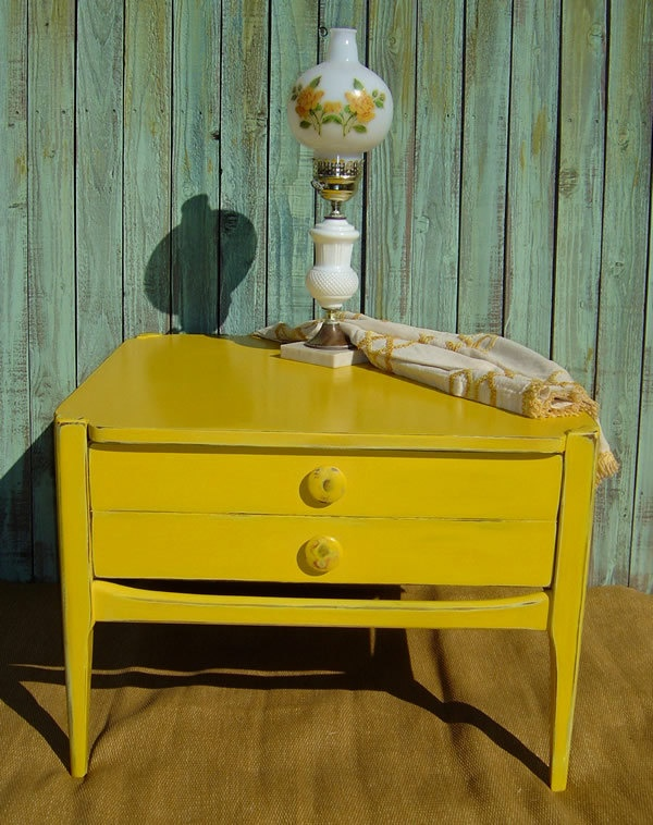 25 best ideas about yellow distressed furniture on for Yellow painted table