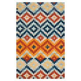 """Bring eye-catching style to your master suite or home office with this hand-hooked wool rug, showcasing a Southwestern-inspired geometric motif.  Product: RugConstruction Material: WoolColor: MultiFeatures:  Hand-hookedSouthwestern-inspired geometric motifPile Height: 0.25"""" Note: Please be aware that actual colors may vary from those shown on your screen. Accent rugs may also not show the entire pattern that the corresponding area rugs have.Cleaning and Care: Professional cleaning ..."""