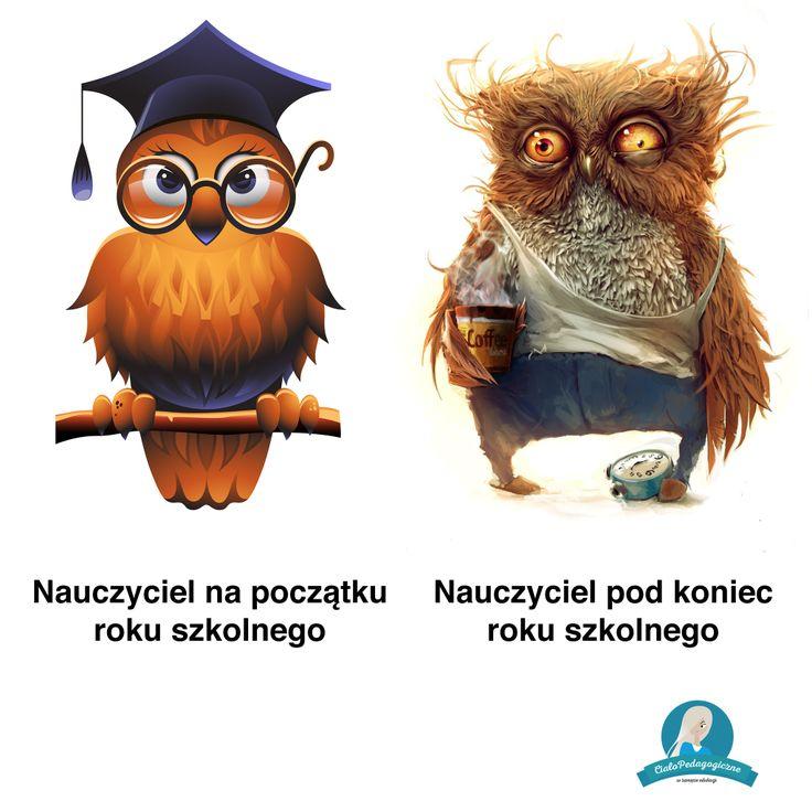 Nauczyciel na początku i na końcu roku szkolnego.