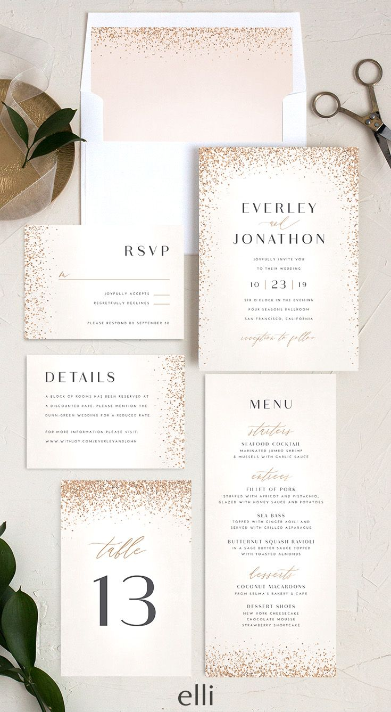 Sparkling Romance Wedding Invitation Suite In 2020 Wedding Invitations Wedding Invitations Stationery Classic Wedding Invitations