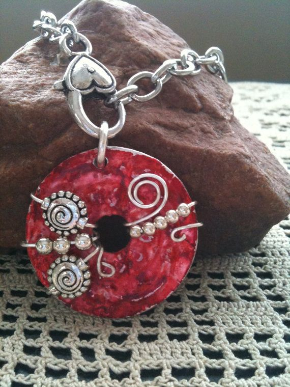 Wire Wrapped Beaded Washer Pendant -- could do with any donut bead.  Beautiful!