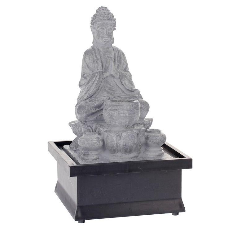 Disponible sur Paris-prix.com ! Fontaine Bouddha 25cm Gris