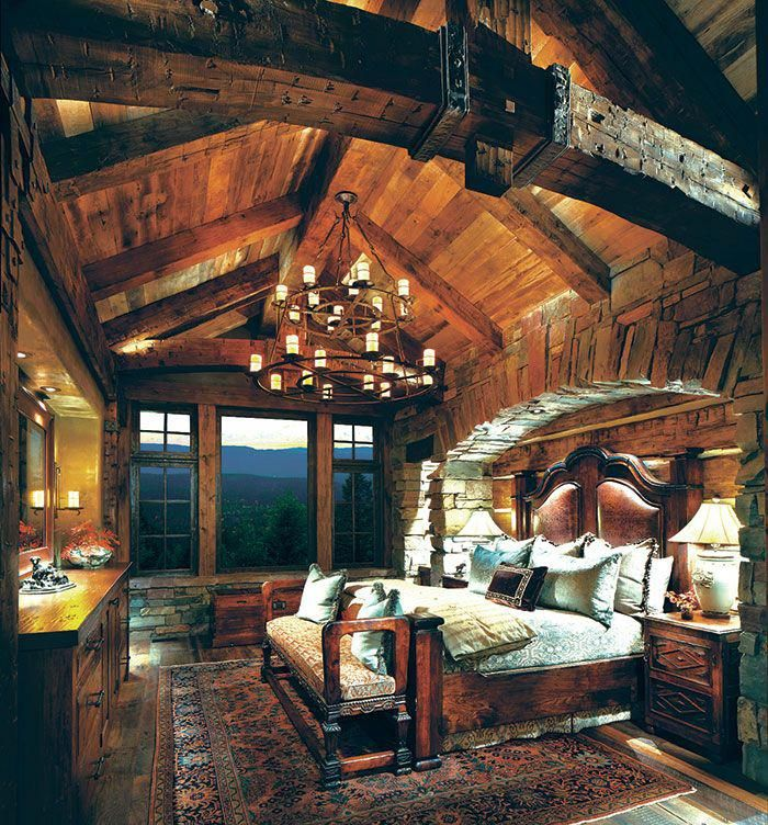 Dramatic Rustic Mountain Lodge Bedroom Rusticdecor Rusticchic Rusticstyle Cabins Rustic House Rustic Home Design Rustic Master Bedroom