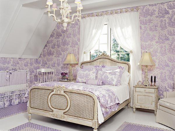 Bedroom Decorating Ideas Totally Toile: Lavender-and-white Toile Fabric Covers The Walls In This