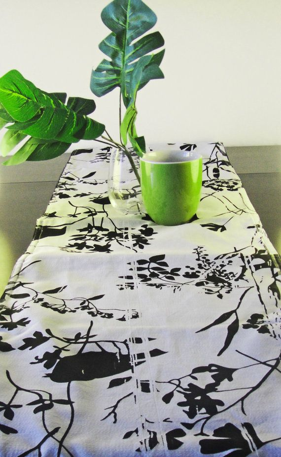 Table Runner   Black And White Cotton, Printed, Lined;