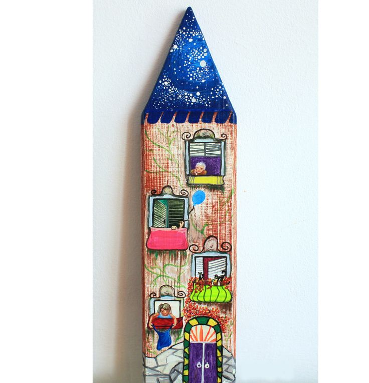 Time Ticket 40x10cm acrylic on natural wood by LilyMokus on Etsy