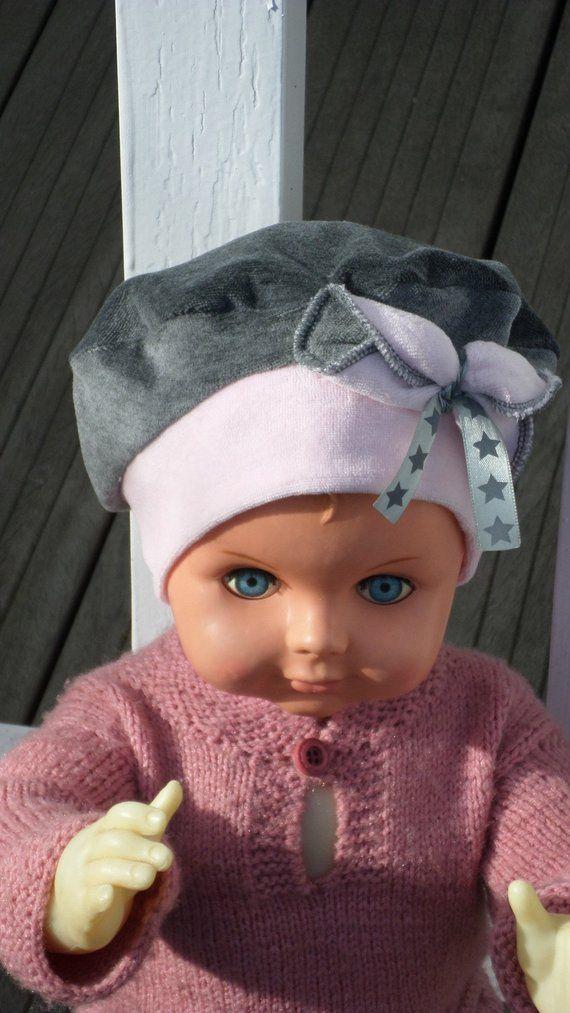 bonnet béret chapeau  bébé fille  lin eva kids en jersey velours coton gris  et rose  nouvelle collection automne hiver 2018 4acbca23369