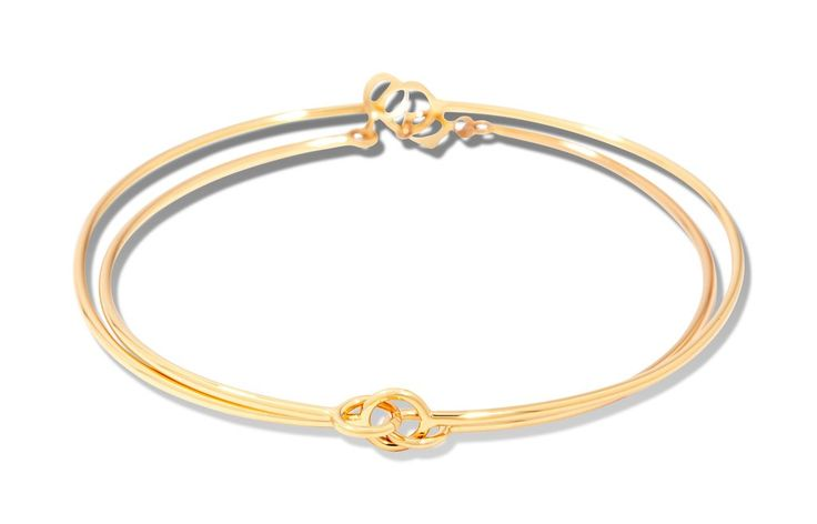 Double charms cuff gold plated