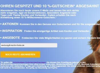 Ebay: Gutschein über zehn Prozent für Newsletter-Abonnenten https://www.discountfan.de/artikel/technik_und_haushalt/ebay-gutschein-ueber-zehn-prozent-fuer-neue-newsletter-abonnenten.php Bei Ebay lockt ab sofort ein Gutschein in Höhe von zehn Prozent ab einem Warenwert von zehn Euro. Voraussetzung ist, dass man den Ebay-Newsletter abonniert. Dieser kann natürlich jederzeit wieder abbestellt werden. Ebay: Gutschein über zehn Prozent für Newsletter-Abonnenten (Bild: Ebay