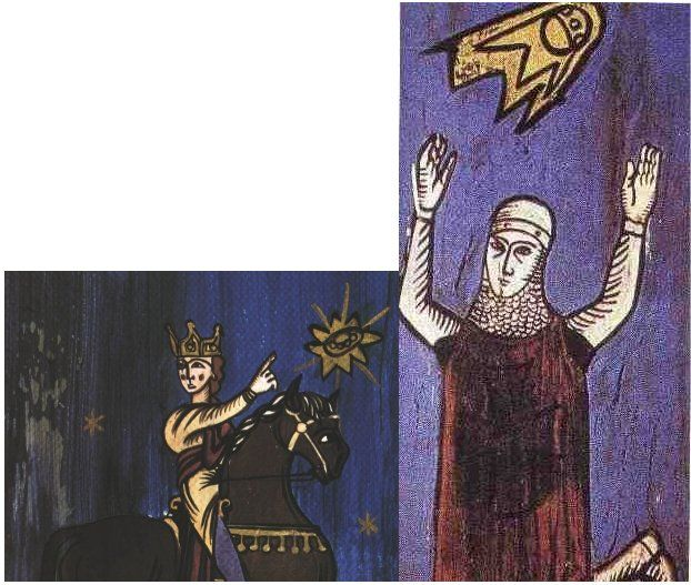 "These images of two crusaders date from a 12th century manuscript "" Annales Laurissenses"" (volumes/books about historical and religion events)and refer to a UFO sighting in the year 776, during the siege on Sigiburg castle, France. The Saxons besieged and surrounded the French people. They both were fighting when suddenly a group of discs (flaming shields) appeared hovering over the top of the church. It appeared to the Saxons that the French were protected by these objects and the Saxons fled.:"