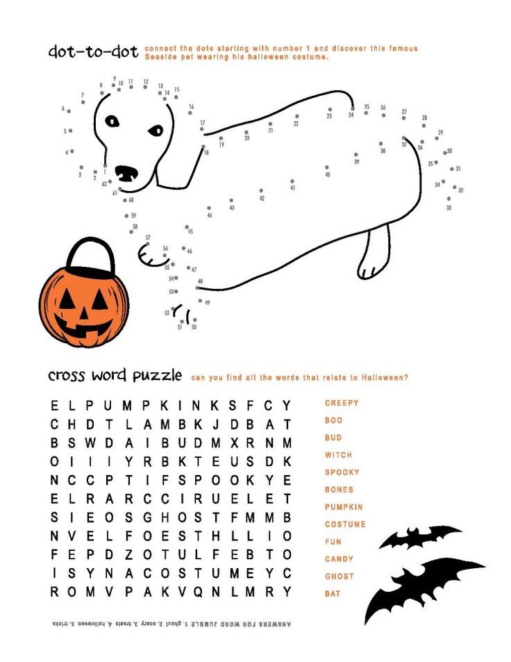 Bud's Halloween activity sheet.