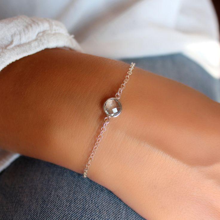 Bracelet fin avec pierre de topaze bleue en argent 925 Bijou minimaliste Bracelet chaîne et pierre fine : Bracelet par freesize-bijoux