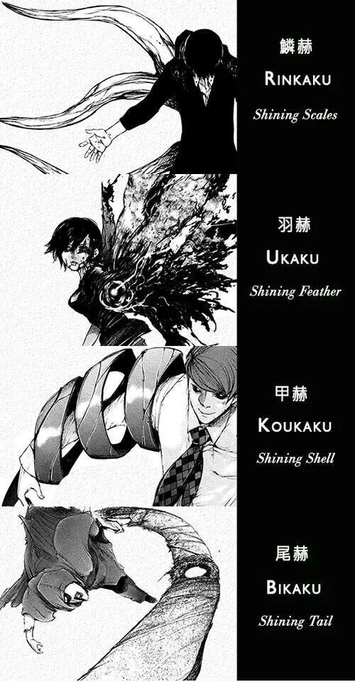 Different types of Kagune. Tokyo Ghoul. The Kagune names are pretty lame, but they look super cool.
