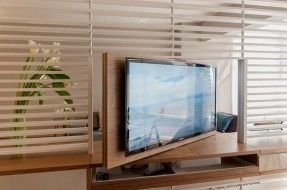 Inspirational Small Apartment Decorating Ideas. Louvered room divider with rotating flat screen tv makes viewing accessible from the sleeping area and the main living space (Pic1)