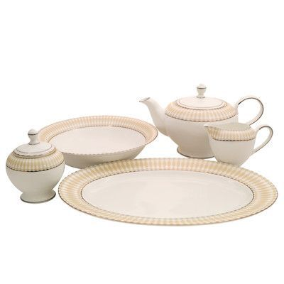 Shinepukur Ceramics USA, Inc. Superior Bone China Traditional Serving 5 Piece Dinnerware Set
