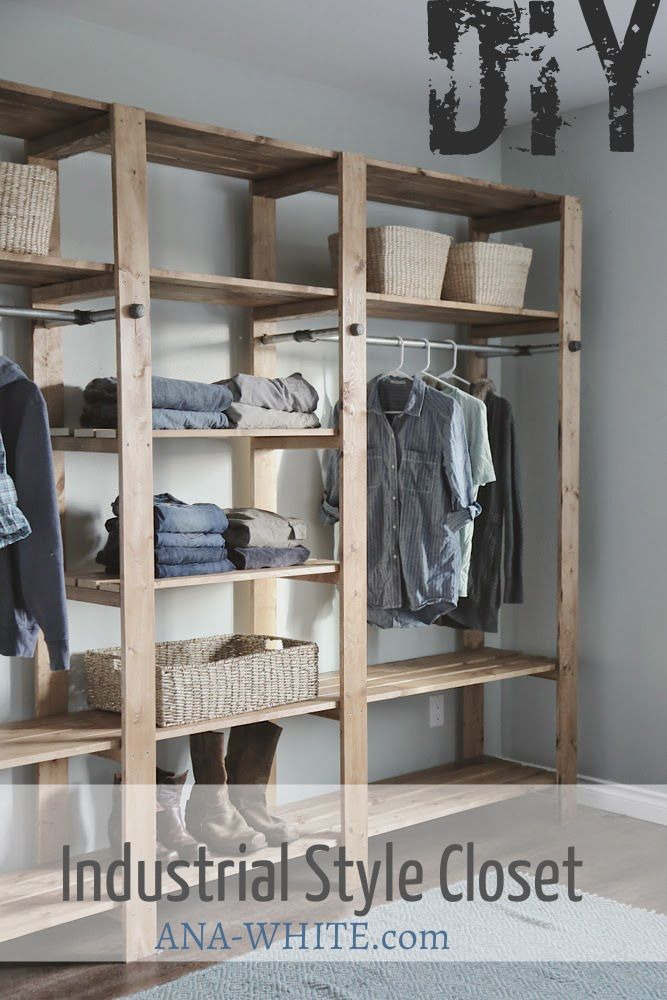 "The thumbnail looks very ""Hollister meets J. Crew""-esque, BUT with the right stain and baskets, it could easily steer away from there! - DIY wood and pipe closet"