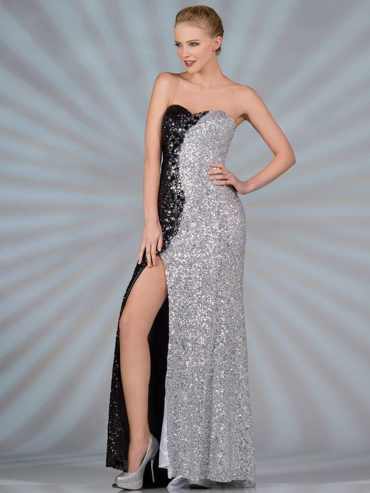 Black And Silver Sequin Prom Dress