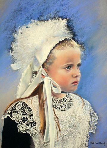 Anaïg, petite Bretonne pastel 40 x 60 cm by Monika.g