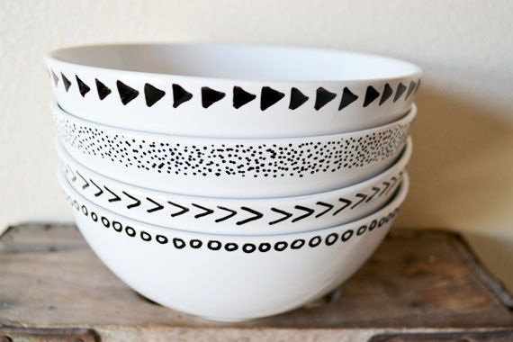patterned bowsl /// set of 4 by urbannester on Etsy, $30.00 /// I think you can make these by getting plain white ceramic bowls and using those Sharpie paint markers to draw designs, then bake them in your oven...