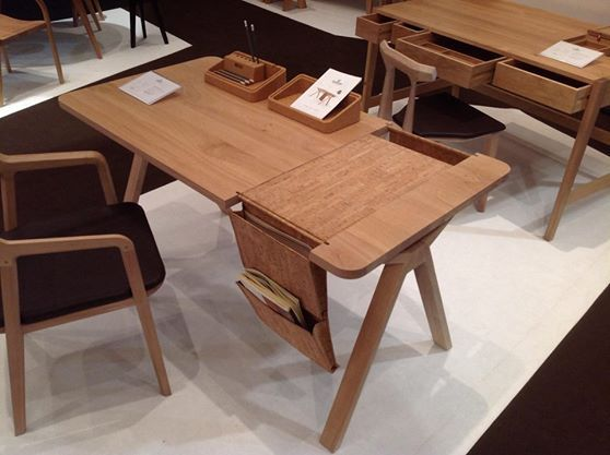 #BOLSA #desk at #M&O Paris. #furniture #oak #leather #cork #solid #product