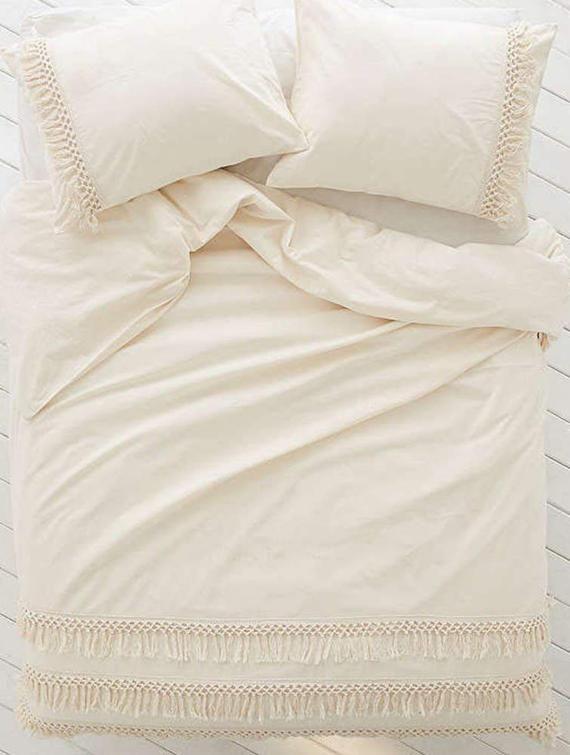 3 Pcs Off White Doona Duvet Cover Handmade Fringes Cotton Comforter Cover Bohemian Quilt Cover Set White Duvet Covers Duvet Covers Bohemian Luxury Duvet Covers