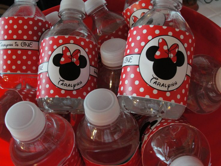 Minnie Mouse Birthday Party Idea Board See More Water Bottle Labels