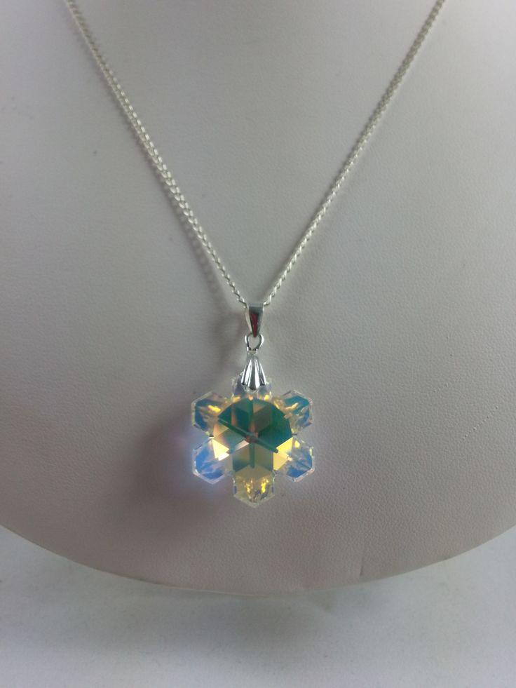 Swarovski snowflake pendant necklace - from set, white background