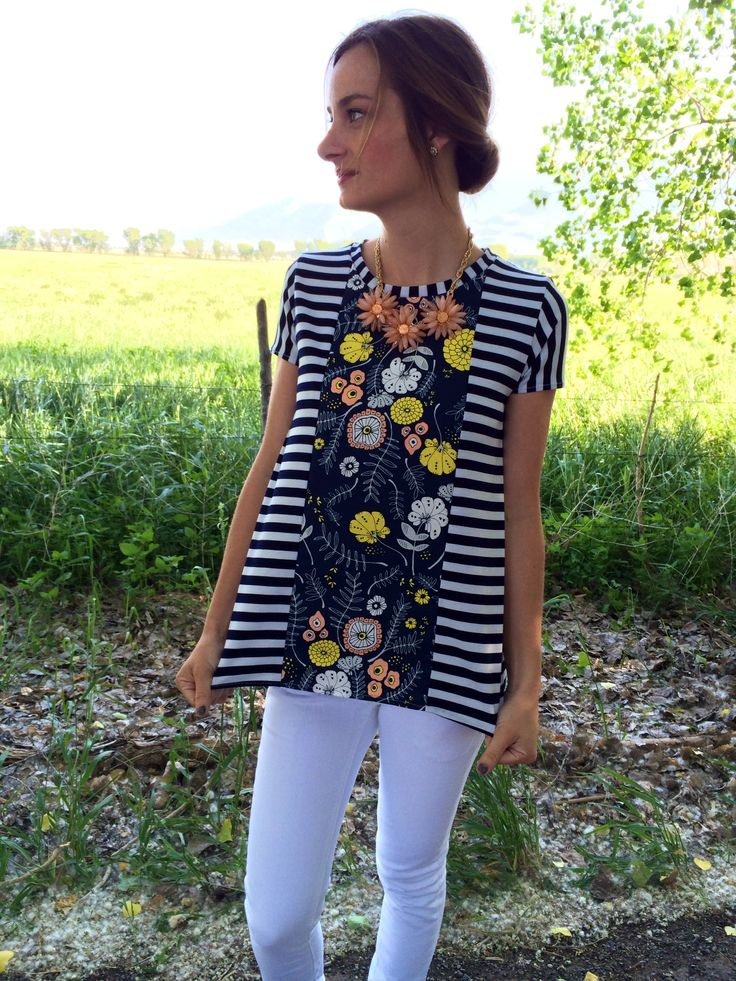 I am so thrilled with how this top turned out. The A-line shape is so flattering, and I'l take a stripe and floral combo any day. I am even more excited to share my original pattern with yo…