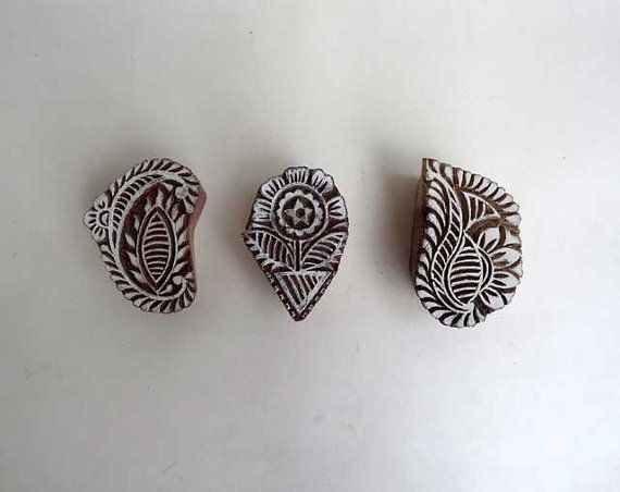 Indian wood stamp  set of 3 medium stamp  by IndianCraftsBazaar