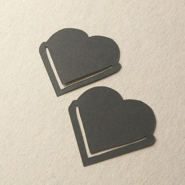 Hand cut heart bookmarks