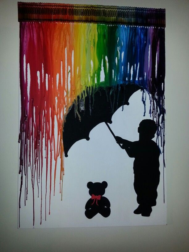 Melted Crayon art silhouette boy protecting his teddy