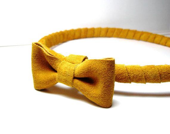 Mosterd hoofd stuk-geel hoofdband met boog  door LeatherGoodThings