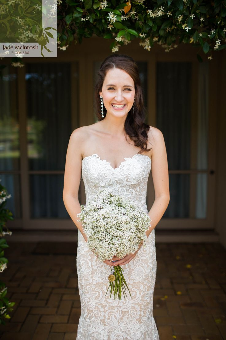 Baby's breath is a wedding classic and we still love it in a simple, rounded bouquet. www.jademcintoshflowers.com.au curlytreephotography.com.au