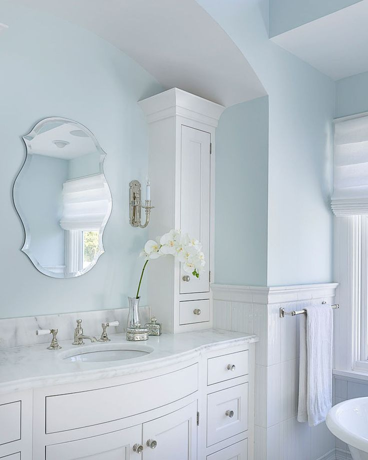 astounding light blue bathroom ideas | Superb torchiere in Bathroom Farmhouse with Blue Bathroom ...