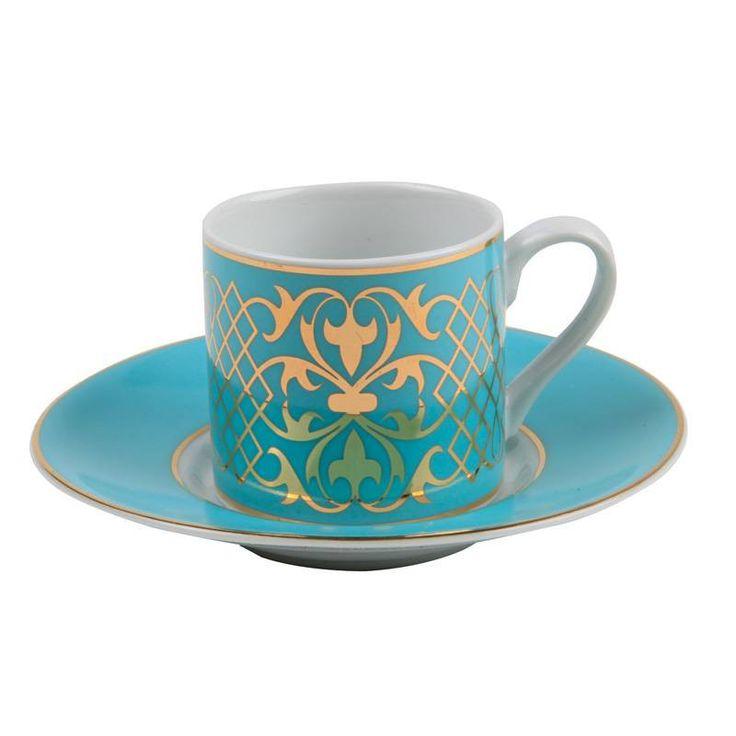 Kutahya Porcelain Teal & Gold Ottoman Turkish Coffee Set of Six