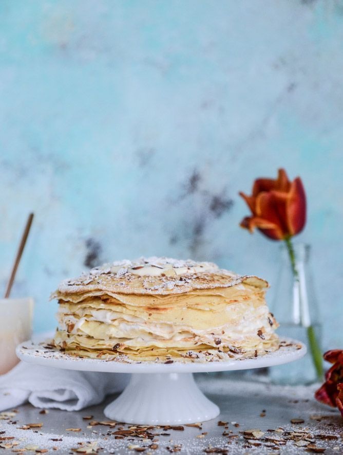 almond cream crepe cake I howsweeteats.com #almondcream #crepecake #cake #crepe #howsweeteats