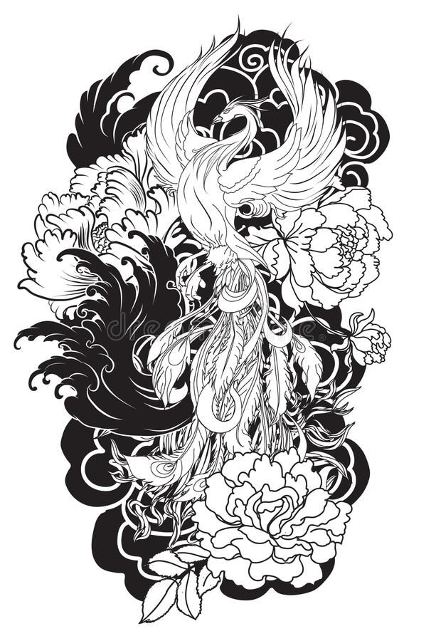 Japanese Phoenix With Flowers In 2020 Japanese Tattoo Japanese Flower Tattoo Japan Tattoo Design