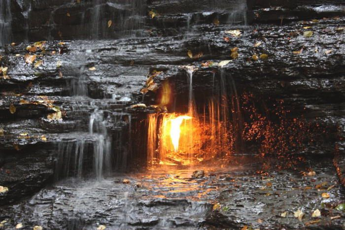 The Best Hiking Trails in Western NY (Pictured is The Eternal Flame at Chestnut Ridge)
